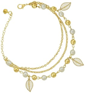 High Trendz Trendy Light Weight Gold Plated Pearl Anklet With Hanging Leaves For Women And Girls