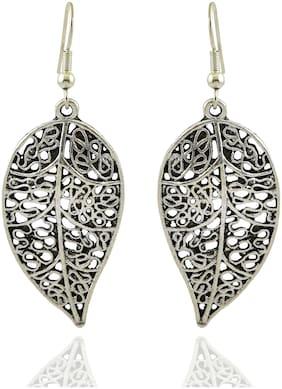 High Trendz Oxidised German Silver Stylish Leaf Charm Hoop Earrings For Women And Girls