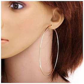 Hoop Earring Stylish round silver earrings Fancy Party Wear Clip on Earrings for Girls & Women (Gold)