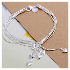 Fashion Heart Charm Pendant Silver Plated Chain Bracelet Wedding Party Jewelry