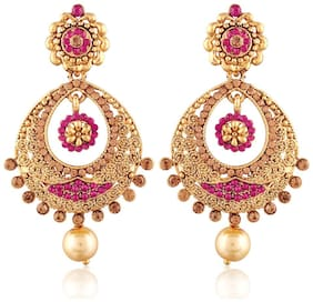 Etnico Gold Plated Traditional Chandbali Earrings for Women E2326Q (Pink)