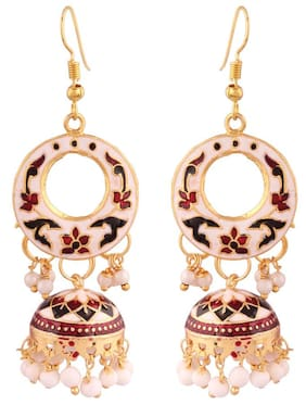 I Jewels Jaipur Collection Rajasthani Jhumkas with Meenakari work for Women E2532MG
