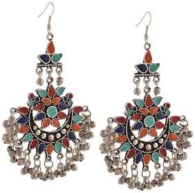 Etnico Oxidized Silver Tribal Dangler Hook Chandbali Earrings for Women (E2551)