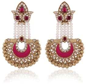 I Jewels Traditional Gold Plated Elegantly Handcrafted Stone Studded Hanging Earrings for Women E2517Q (Rani/Dark Pink)