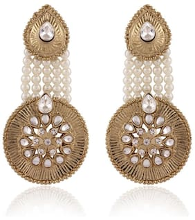 I Jewels Traditional Gold Plated Elegantly Handcrafted Kundan Studded & Pearl Hanging Earrings for Women E2513W (White)
