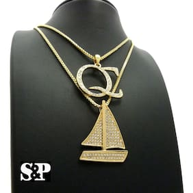 ICED GOLD FINISH QC & SAILBOAT BLING PENDANT & BOX CHAINS HIP HOP NECKLACES SET