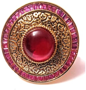 Imittire Red Brass Big Kundan Polki Traditional Cocktail Ring for Women and Girls