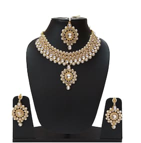 Infinite Creations Party Wear Kundan & Pearl Necklace With Earrings & Maang Tika