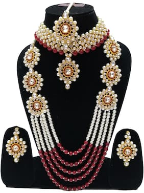 Infinite Creations Party Wear Kundan & Pearl Long Necklace With Choker & Earrings With Maang Tika
