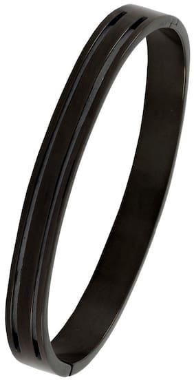 Italian Designer Black Rhodium 316L Surgical Stainless Steel Openable Kada Bangle Bracelet For Boys Men