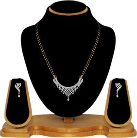 JDX American Diamond Mangalsutra with Chain and Earrings for Women