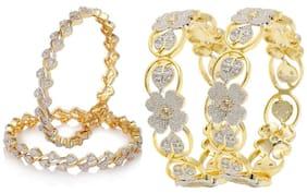 JDX American Diamond Gold Plated Bangles Set for Girls