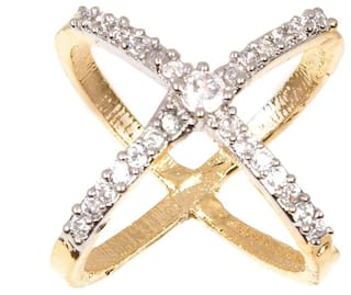 JDX American Diamond Gold Plated Ring for Women and Girls_Adjustable