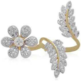 JDX American Diamond Gold Plated Ring for Women and Girls