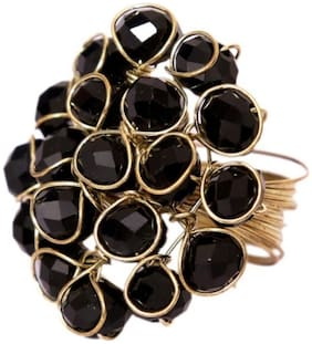 JDX Black Crystal Ring for Women and Girls