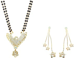 JDX Gold Plated American Diamond Bangle With Necklace Set For Girl & women