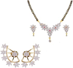 JDX Gold Plated American Diamond Earring & Necklace for Girl & women