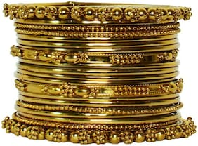 JDX Gold Plated Traditional Fancy Bangle Set For Girl & Womens