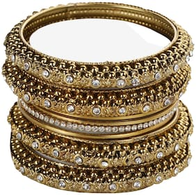 JDX Gold Plated Fancy Traditional Bangle For Girl & Women
