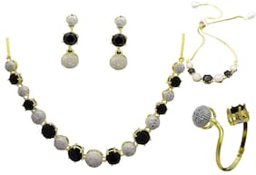 JDX Gold Plated American Diamond Necklace Set With Earring ring & Bracelet For Girl & women
