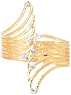 JDX Gold Plated Metal Bracelet Cuff for Women and Girls_Adjustable