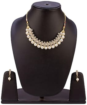 JDX Gold Plated Australian Diamond Choker Necklace With Drop Earrings