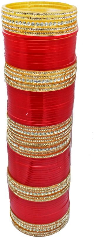Jdx Red Bridal Wedding Chuda Bangle Set For Girl & Women