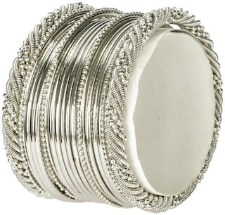 JDX Silver Plated Traditional Fancy Bangle Set For Girl & Womens