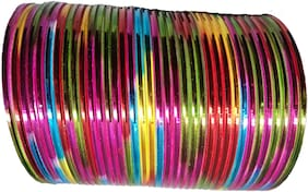 JDX Silver Plated Multi Color Plain Stylish Fancy Bangle For Girl & Women