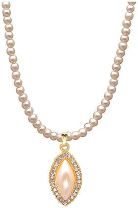 JDX White Pearl Moti Pendant with Earrings