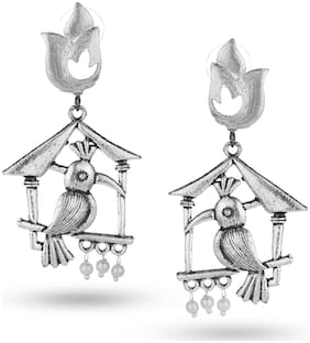 Jewelica Cute and Pretty Bird in the cage earrings danglers with white beads