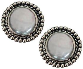 Rich & Famous Elegant White Stone Studded Round shape Fashion Stud Earring