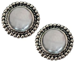 Rich & Famous Elegant White Stone Studded Round shape Fashion Stud Earring