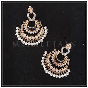Jewellery By Mitali Jain Women Sterling silver and Pearl Chandbali earrings
