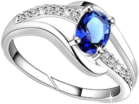 Jewellery For Women Cz Blue Stone Platinum American Diamond Adjustable Finger Ring For Girls & Womens (Free Size)