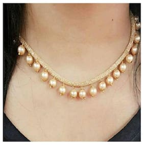 Jewellery Gold Plated Pearl Necklace Set with Earrings