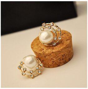 Women Elegant Cute Pearl Moon Rhinestone Star Ear Stud Earrings