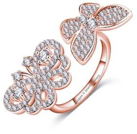 Jewels Galaxy Limited Edition AAA Austrian Diamond Sparkling White Butterfly Inspired Splendid 18K Rosegold Ring For Women/Girls