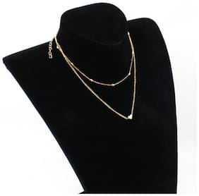 Jewels Galaxy Elegant Heart Inspired Double Layered Fascinating Statement Necklace For Women/Girls