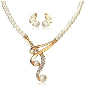 Jewels Galaxy Luxuria Gold Plated White Pearl Necklace Set