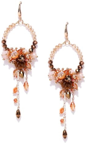 Jewels Galaxy Luxuria Delicate Florets Onyx Studded Tantalizing Rosegold Plated Chain Drop Tassel Earrings For Women/Girls