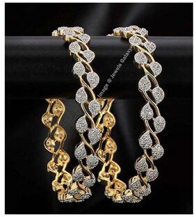 Jewels Galaxy Incredibly Designed Gold Plated AD Bangles For Women/Girls - 1 Pair of Bangles