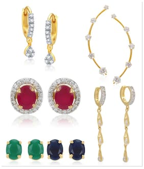 Jewels Galaxy Circular 6-In-1 Interchangeable Earring  1 Solitaire Earcuff And 1 Solitaire Drop Bali  1 Bali - Combo Dhamaka