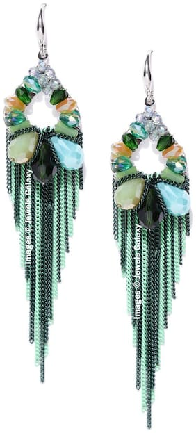 Jewels Galaxy Limited Edition Exquisite Crystal Designed Impressive Oxidized Green Silver Plated Tassel Earrings For Women/Girls