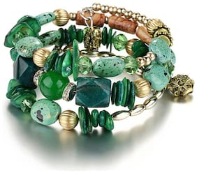 Jewels Galaxy Exclusive Green Colourful Stones studded Multistrand Bracelet