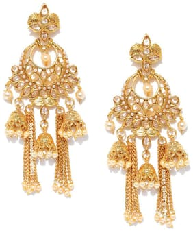 Jewels Galaxy Premium Pearls & Kundan Design Gold Plated Traditional Earrings For Women/Girls