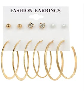 Jewels Galaxy Elegant AD & Pearl Gold Plated Brilliant 6 Pair of Earrings For Women/Girls