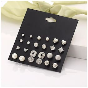 Jewels Galaxy Limited Edition AAA AD Heart Round and Geometric Brilliant 12 Pair of Stud Earrings