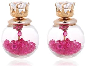 Jewels Galaxy Pink Crystal Double Sided Stud Earrings
