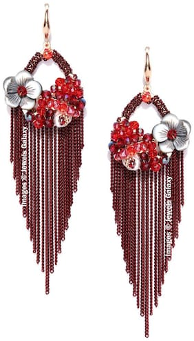 Jewels Galaxy Limited Luxuria Edition Blossoms Design Stunning Onyx Design Oxidized Rosegold Tassel Earrings For Women/Girls